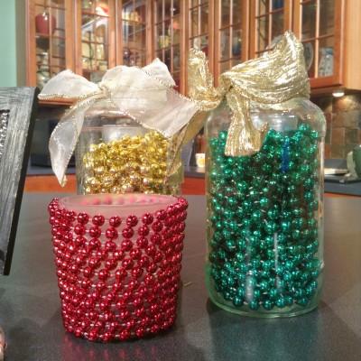 suport lumanare cu perle