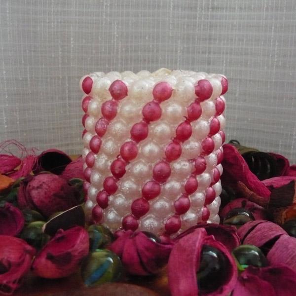lumanari decorative cu bule alb si roz