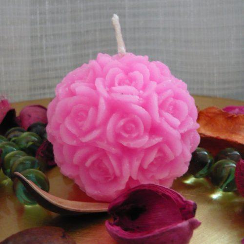 lumanari decorative trandafir roziu